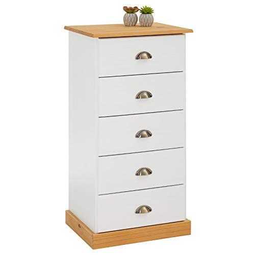 IDIMEX Kommode Holzschrank Paris Schubladenkommode Apothekerkommode Mehrzweckkommode mit 5 Schubladen, Kiefer massiv weiß/braun lackiert