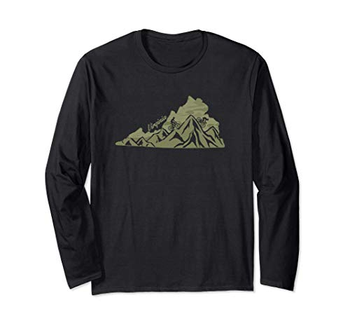 Virginia Mountain Bike Riding VA Biking Blue Ridge State Map Long Sleeve T-Shirt