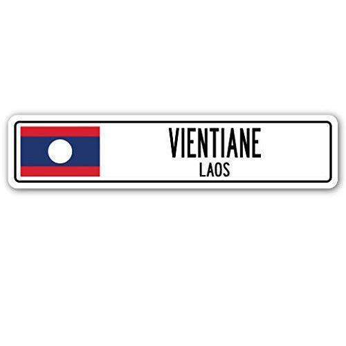 TammieLove Straßenschild Vientiane Laos Aluminium Straßenschild Lao Laotian Flagge Stadt Land Straßenschild 10,2 x 40,6 cm