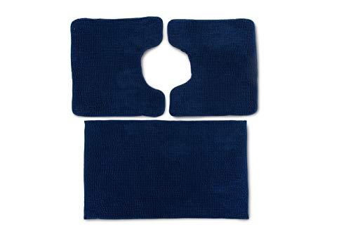 CosìCasa: Tappeto Bagno 3 Pezzi Antiscivolo in Microfibra [50X80 + 45X50 (2 Pezzi)] | Set Bagno Blu | Tris Tappeti Bagno con Tappetino e 2 Girowater/Girobidet - Lavabile Lavatrice - (Blu)
