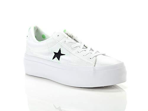 Converse, Donna, One Star Platform, Tessuto, Sneakers, Bianco, 38
