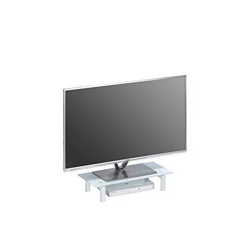 MAJA Möbel Media TV-Board, Glas, Metall weiß - Weißglas, 60 x 12,5 x 28 cm