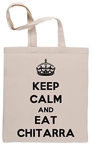 Keep Calm And Eat Chitarra Borse per La Spesa Riutilizzabili Shopping Bag Beige