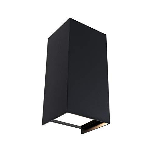 Paulmann 94325 LED Außenleuchte 2er Set Außenwandleuchte Flame IP65 Warmweiß eckig incl. 2x5,8 Watt Außenbeleuchtung Anthrazit Außenlampe Aluminium Gartenlampe 3000 K