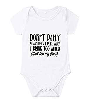 Newborn Baby GOT My Mind ON My Mommy Paws Funny Bodysuits Rompers Outfits Grey White 0-18M  Q-Don t Panic Sometimes i Puke When i Drink Too Much  just Like My Aunt  3-6M