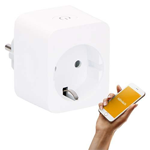 idinio Enchufe inteligente WiFi, medición de energía, temporizador por App, 2.300W, WLAN, App iOS y Android, Skill Echo, interruptor manual encendido/apagado individual