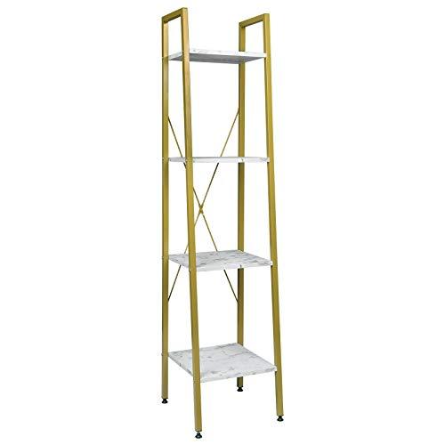 EUGAD 0025ZWJ Standregal Bücherregal Metallregal Leiterregal Stufenregal Multifunktionale Regal Industrie Design MDF Metall 34x35x148cm, Golden+Weißer Marmor