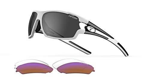 Tifosi Unisex Amok Brille mit austauschbaren Gläsern Einheitsgröße weiß / schwarz