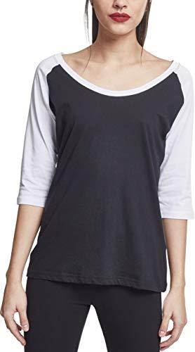 Urban Classics Damen Ladies 3/4 Contrast Raglan Tee T-Shirt, Mehrfarbig(blk/wht), XS