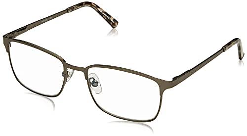 Foster Grant Men's Braydon Multifocus Rectangular Reading Glasses, Gunmetal/Transparent, 54 mm + 2