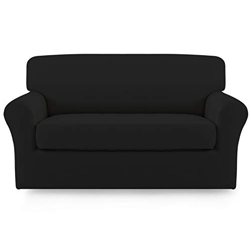 Easy-Going 2 Pieces Microfiber Stretch Sofa Slipcover – Spandex Soft Fitted Sofa Couch Cover, Washable Furniture Protector with Elastic Bottom Kids,Pet (Loveseat,Black)