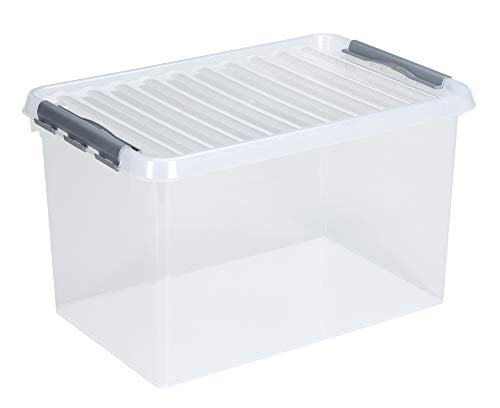 Sunware Q-Line Aufbewahrungsbox 62 Liter transparent metallic