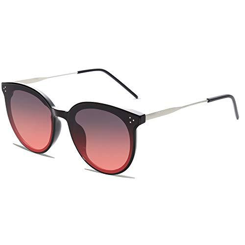 SOJOS Retro Sonnenbrille Damen Hochwertige Vintage Runde Brille Übergroß UV 400 Schutz mit Federscharnier, Brilletuch und Brillenbeutel DOLPHIN SJ2068 Schwarz Rahmen/Verlauf Rot Linse