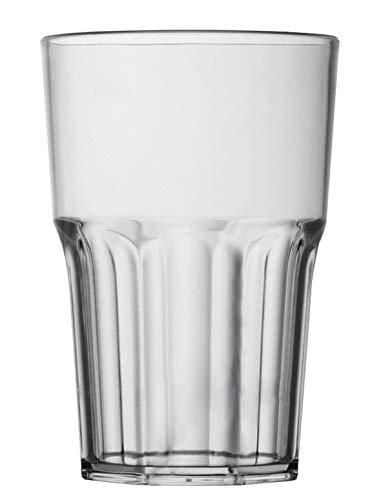 Garnet - Vaso reutilizable transparente Granity 40 Juego de 6 unidades - Apto para lavavajillas - 40 burdeos - 33 - 35 cl a servicio - Made in Italy, plástico, 0,4 litros