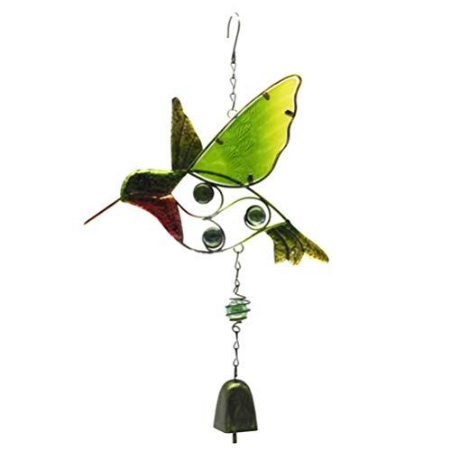 IMIKEYA Vogel Windspiele Metall Wind Glocken Bunte Glasmalerei hängen Mobile Glocke für innen und außen tolle Dekoration für Ihre Terrasse und Garten