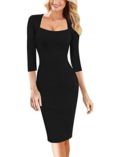 Vfshow Womens Black Spring Fall Square Neck Work Office Business Casual Cocktail Party Bodycon Pencil Sheath Dress 3560 BLK S