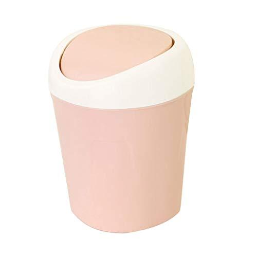 Bote de Basura Creative Desktop Trash Can Sala de Estar Dormitorio Cama con Tapa Basura Bote Papelera Cubo Bote de Basura Humano Simple (Color : Pink)