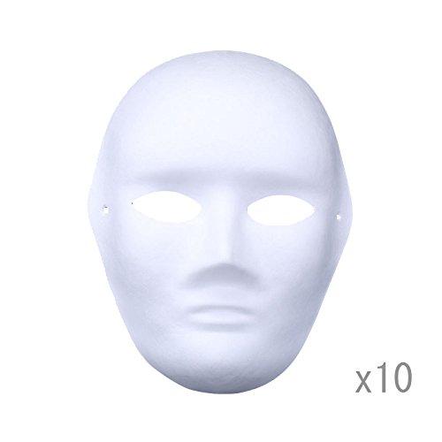 Meimask 10pcs Bricolaje Papel Blanco máscara de Pulpa en Blanco máscara Pintada a Mano Personalidad Creativo diseño Libre máscara (Hombres)