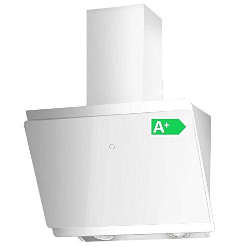 VLANO MIRA EEK A+ Kopf-freie Dunstabzugshaube Glas Design/Touch Control/ECO LED/Extra leiser Brushless Motor/Abluft/Umluft (MIRA 60 cm, weiß)