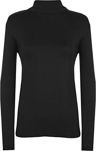 Rollkragenpullover für Damen, Langarm, einfarbig, dehnbar Gr. 42, Schwarz