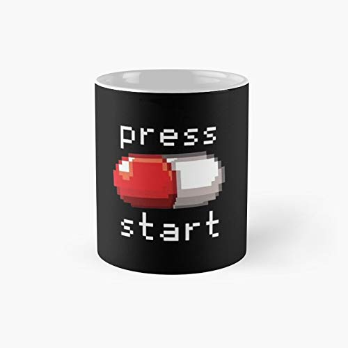 Press Start Classic Mug - Funny Gift Coffee Tea Cup White 11 Oz The Best Gift For Holidays.