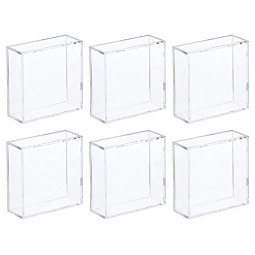 Hockey Puck Display Case Cube Square Holder - 6 Count