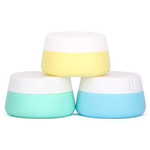 Holzsammlung 3 Piezas Vacío Silicona Envase de Crema Cosmética de Viaje con Sellado Tapas, Anti-Fugas & Rellenable para Equipaje de Mano, Libre de BPA para píldoras, lociones, Polvos etc - 10 ml