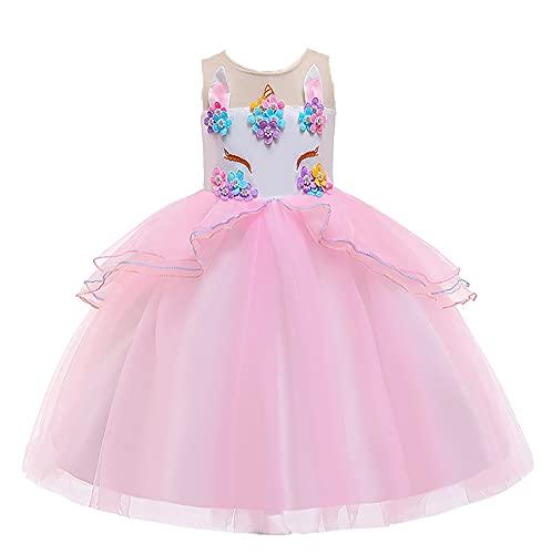 WAWALI Disfraz mítico de flores para niñas de 3 a 10 años de edad, rosa, 3-4 Años