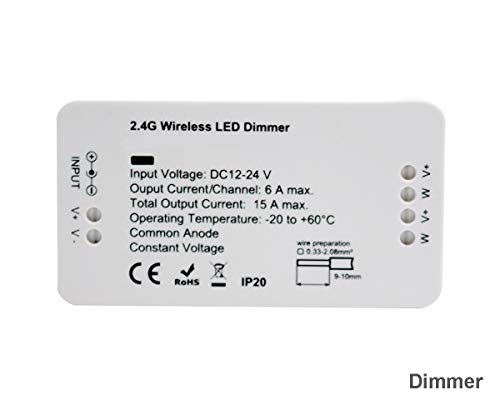 ZigBee Tira de LED Controlador de interruptor de luz, Dimmer Control Remoto de ZigBee Light Link Adaptador para 12-24V Strip, Philips Hue Bridge, Amazon Echo Plus, Lightify, SmartThing