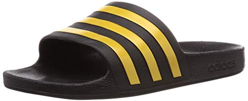 adidas Unisex-Adult Adilette Aqua Sandal, Core Black/Gold Metallic/Core Black, 40.5 EU