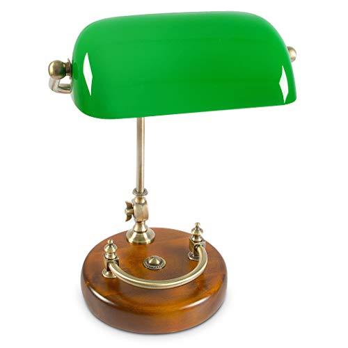 Relaxdays Bankerlampe grün mit verziertem Holzfuß – Retro Tischlampe grüne Schreibtischlampe...