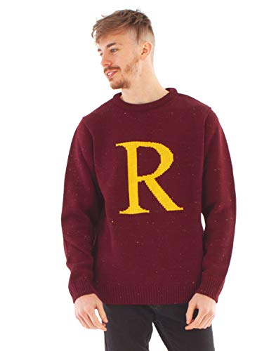 Harry Potter Ron Weasley Letter R Premium Knitted Unisex Men's Burgundy Jumper