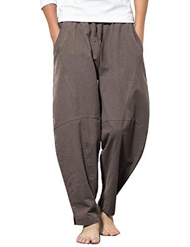 COOFANDY Pantalones de algodón y lino para hombre, ligeros, elásticos sueltos, pantalones de yoga marrón oscuro S