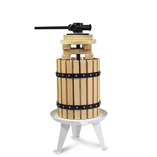 Fruit Apple Cider Wine Classic Press- 1.6 Gallon/6L-Solid Wood Basket- 6 Press Wooden Blocks-Pole Handle Bar-Manual Juicer for Juice,Wine,Cider-Suitable for Outdoor, Kitchen and Home