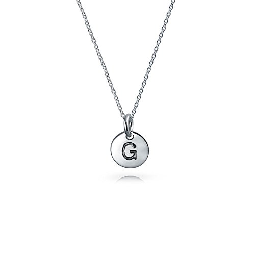 Tiny Minimalist Abc Round Disc Block Letter Alphabet G Initial Pendant Necklace For Teen For Women 925 Sterling Silver