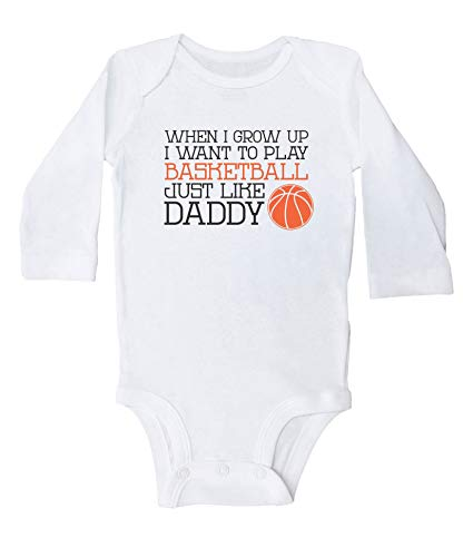 Promini Play Basketball Like Daddy - Body de baloncesto divertido para niños Blanco blanco 6 mes
