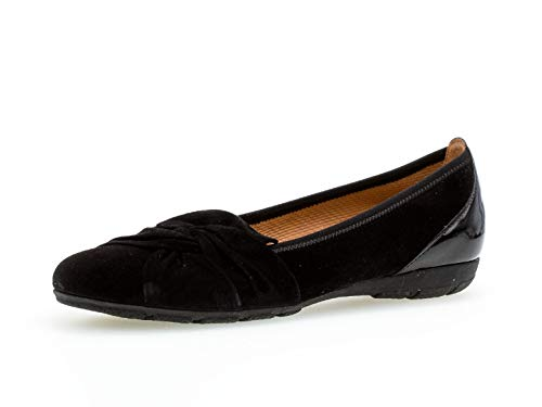 Gabor Damen Ballerinas, Frauen Klassische Ballerinas,Hovercraft- Luftkammernsohle, Frauen weibliche Lady Ladies feminin Women,schwarz,40.5 EU / 7 UK