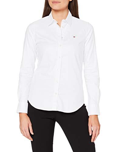 GANT Damen Stretch Oxford-Solid Shirt Bluse, Weiß (White 110), 42