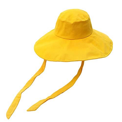 Cappello Esterno del Sole di Estate del Cappello Signora, Tesa Larga Turismo Striscione Cappello da Sole Modo del Cappello Pieghevole, Cappello della Spiaggia d'Estate Che Copre Il Viso con,Giallo