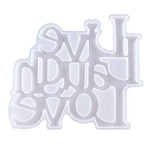 Wr Moldes del silicón del Moldeado de la joyería de la Resina de DIY, Artes formados Letra del Alfabeto del Amor de DIY