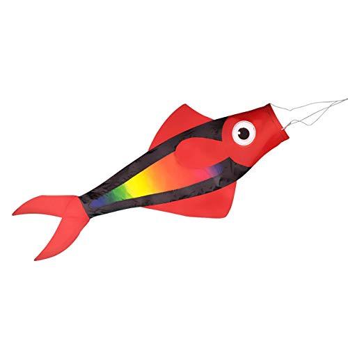 Windsack - Fisch Rainbow - UV-beständig und wetterfest - Abmessungen: 91x38x12cm - inkl. Kugellagerwirbelclip (Rainbow)