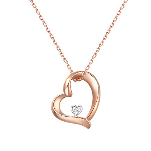 Agvana 18K Solid Rose Gold Diamond Heart Dainty Pendant Necklace Fine Jewelry Promise Anniversary Birthday Gifts for Women Teen Girls Mom Grandma Wife Daughter Her Yourself with Jewelry Box, 16'+2'