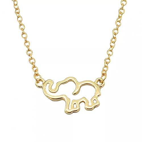 RTEAQ Moda Collar Joyas Gargantilla Collares con Colgante de Elefante de Origami de Cadena de aleación para Mujer, joyería, Collares Largos de Moda San Valentín Cumpleaños Regalos