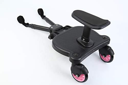 Honhill Actualizar - Palanca Ajustable Universal Mini Buggy Board con asiento Cochecito para el Segundo niño Pedal Auxiliar Conector extraíble Asiento y montaje y Velcro se adapta al carro (rojol)
