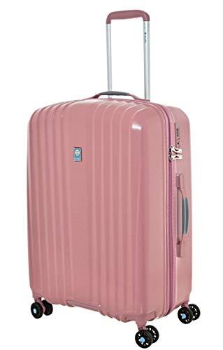 Dielle - Trolley Mediano de ABS hiperligero, 65 x 43 x 27 cm, 66 litros, 2,6 kg Plateado Rosa