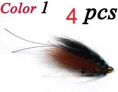 L-MEIQUN 4PCS Conehead Tube Fly Streamer Wet Flies Trout Salmon Fishing Fly Lure Bait Color : Color 1 4pcs