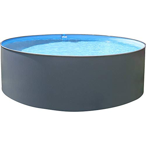 Summer Fun Stahlwandpool rund anthrazit 120 cm Tiefe - Innenhülle blau 350x120 cm