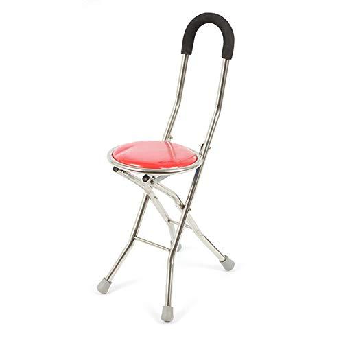 CANDYANA Walking Seat Stick kruk Walker Quadruple Cane klapstoel lichte, draagbare hengelrestkruk, rood