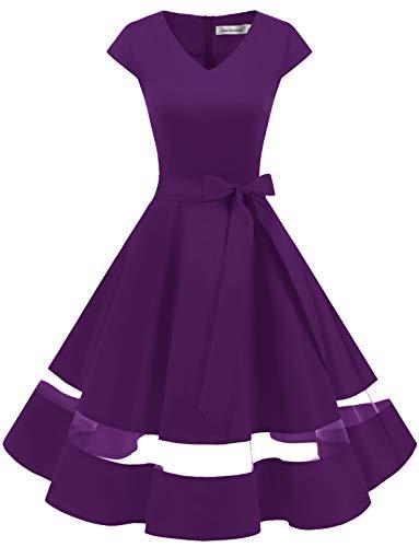 Vestito da Sera Vintage retrò con a V Floreale Elegante Abito da Cocktai Grape 2XL