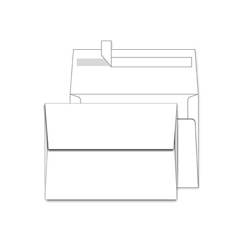 A7 White Envelopes 5X7 50 Pack - Quick Self Seal,Square Flap¡ê?for 5x7 Cards| Perfect for Weddings, Invitations, Photos, Graduation, Baby Shower, Stationery for General, Office | 5.25 x 7.25 inches
